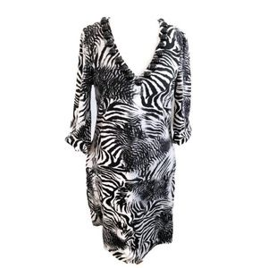 Jersey Knit Thick Animal Print Shift Dress Black